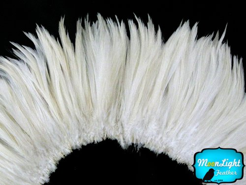 Moonlight Feather, Rooster Feathers - Natural White Strung Rooster Neck Hackle Feathers 4-6
