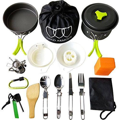 Gold Armour 17Pcs Camping Cookware Mess Kit Backpacking Gear & Hiking Outdoors Bug Out Bag Cooking Equipment Cookset | Lightweight, Compact, Durable Pot Pan Bowls (Green)