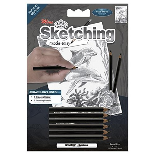 ROYAL BRUSH Mini Sketching Made Easy Kit, 5 by 7-Inch, Dolphins