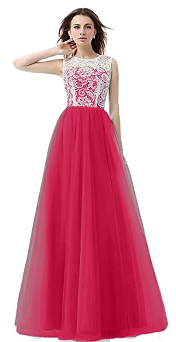 VaniaDress Women Tulle Ball Gown Long Prom Dress Lace Evening Dress V015WD