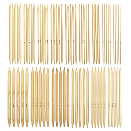 75pcs 15 sizes Coupled Pointed Knitting Needles Carbonized Bamboo Craft Knit Sewing Accessories Tools
