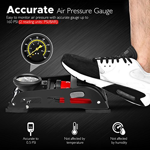 Audew Dual-Cylinder Foot Pump, Portable Floor Pump with Accurate Pressure Gauge & Smart Valves, 160PSI Air Pump for Bicycles, Motorcycles, Cars, Balls and Other Inflatables by Audew (Image #6)