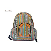 Hand Made Funky Backpack, Bohemian Backpack. Hippie Hobo Bag. Great As Book Bag (Mix yellow)