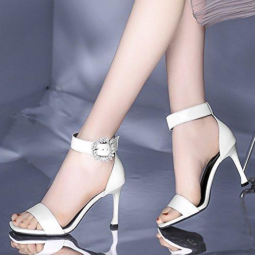 Abierta Punta Moda Tacón De Fino Cuero Mujer Vestido Dkfjki Alto Tacones Sandalias Imitación White Diamantes Altos Zapatos wBpq8