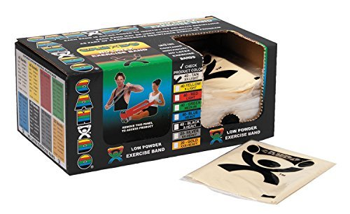 CanDo Singles Low Powder Exercise Band, 4-foot singles, Tan: XX-Light (40 count)