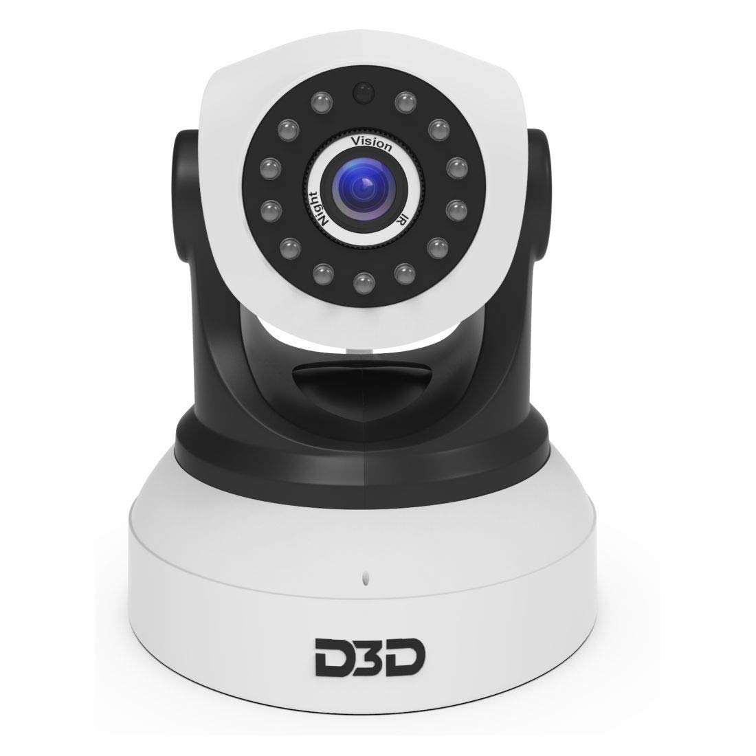 D3D D8809 HD 720P WiFi Home Security Camera Night Vision 360 PTZ (Black  White)