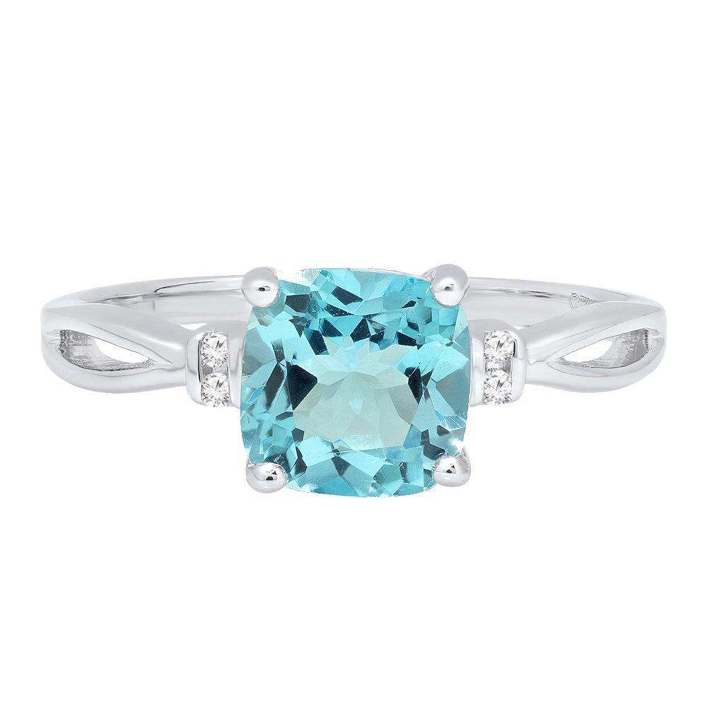 Dazzlingrock Collection 7 MM Cushion Gemstone /& Round Diamond Ladies Bridal Engagement Ring Sterling Silver