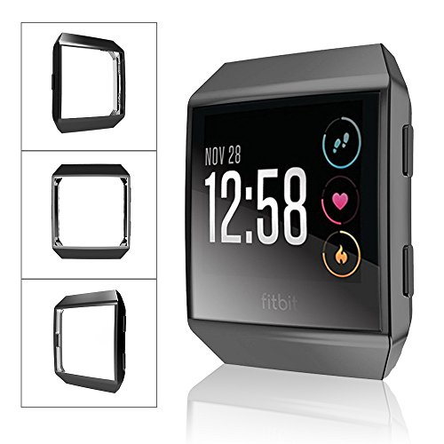 Fitbit Ionic Watch protect Case,Omni-directional Protect Screen Soft TPU Ultra-thin HD Clear Cover for Fitbit Ionic smart Watch (clear+black) by ZRXS (Image #2)