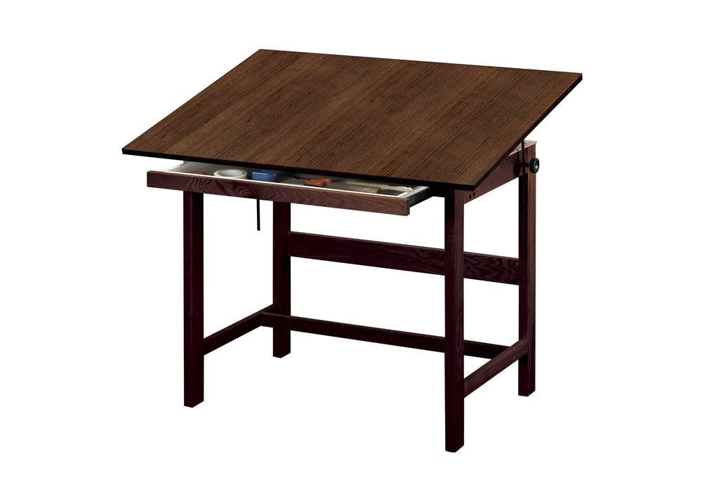 Titan Solid Oak Drafting Table - Walnut Finish, 48'' X 36'' Walnut Finish Dimensions: 48''W X 36''D X 37''H Weight: 90 Lbs