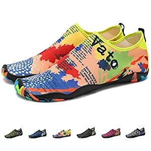 KEALUX Men Women Barefoot Quick-Dry Water Sports Shoes Multifunctional Sneakers with Drainage Holes for Swim, Walking, Yoga, Lake, Beach, Garden, Park, Driving, Boating ?¡§Yellow ?