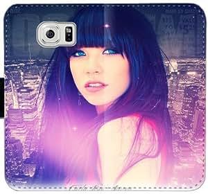 Carly Rae Jepsen X3S1E Funda Samsung Galaxy S6 funda de cuero caja de la carpeta f83631 cubiertas del teléfono Droid