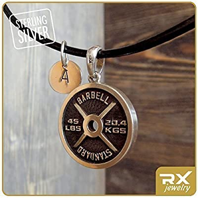 Initial Sport Necklace Weightlifting Pendant with Initial Charm No PAIN No GAIN for Powerlifting Weightlifting Bodybuilding Sportsmen Weight Plate Barbell Pendant