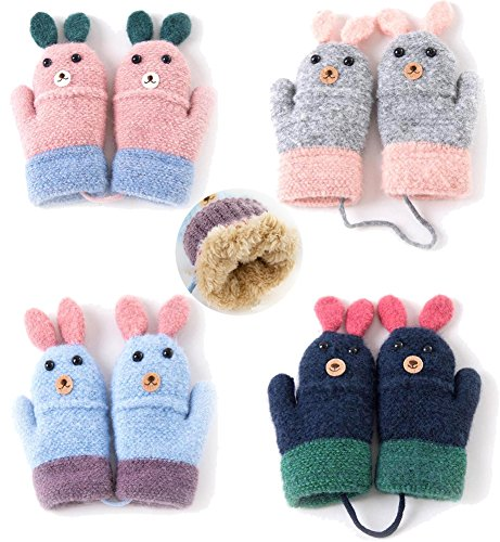 4 Pairs Kids Winter Warm Sherpa Lined Knit Mittens Gloves for Toddler Boys Girls 3-5T