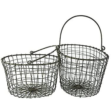 Rustic Metal Wire Harvesting Basket with Handles, Country Style - Set of 2