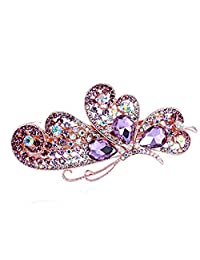 SODIAL Adorable Flank Butterfly Wings Shaped Alloy and Rhinestone Hair Barrette Clip Accessary Purple