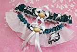 Customizable - Philadelphia Eagles fabric handmade into bridal prom white organza wedding garter set with football charm