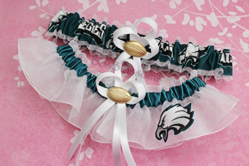 Customizable - Philadelphia Eagles fabric handmade into bridal prom white organza wedding garter set with football charm by BOYX Designs