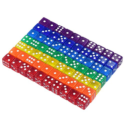 WEQEER 70-Count 6-Sided 16mm 7 Colors Dice in Bag