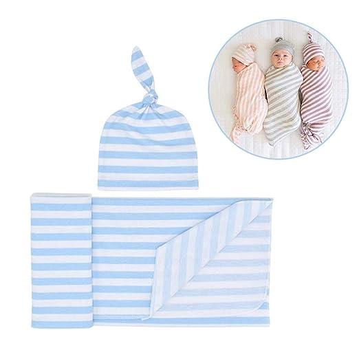 Volwco - Manta para bebé con Gorro de algodón Ajustable para bebés ...