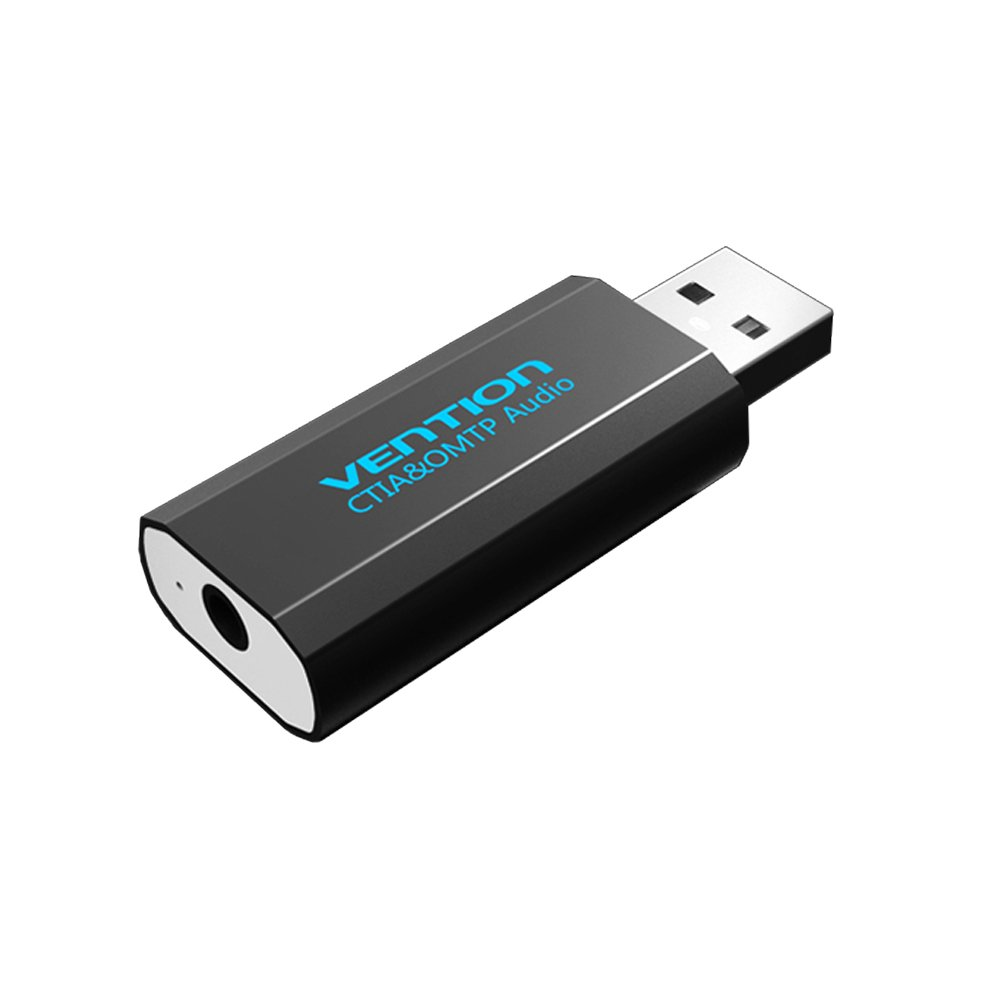 Vention USB to 3.5mm Jack Audio Adapter Stereo External USB Sound Card Adapter Headset Microphone 2 in 1 Aux Jack for Windows, Mac Pro, Stereo Speakers, Laptops, PS4(Black)