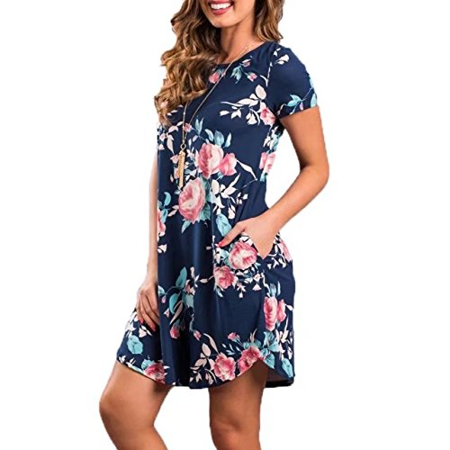 With A Print TM Casual Short Pocket Loose T Womens shirt BetterGirl Floral Blue line Sleeve Dress OF4gOw