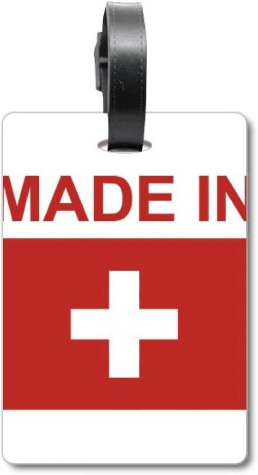Etiqueta de identificación para Maleta con Texto en inglés «Made in Suiza»