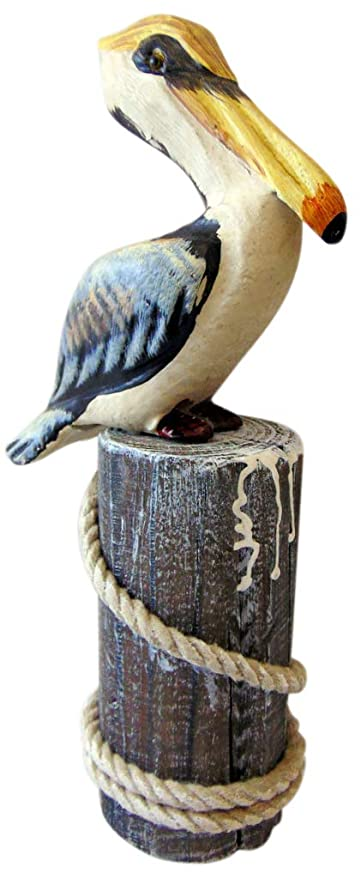 Wood Pelican Statue On Piling With Rope Handmade Decoration 10 Inches