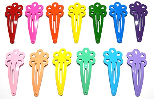 Cover Hair Clip Snap - 30 Pcs Mix Color Flower Hair Snap Clip Size 45 Mm (Mix Bright and Pastel Tone) 13 Colors
