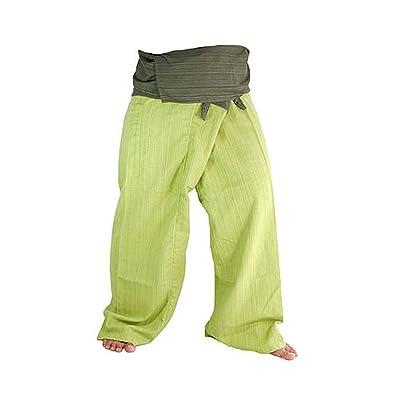 Two Tone Yoga Pants Trousers Thai Fisherman Pants Free Size Cotton Drill Stripes Olive/lime Green