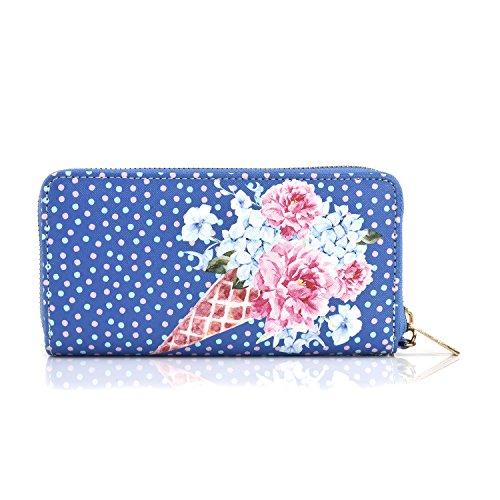 Women Zipper Wristlet Wallet Hydrangea Print Designer Clutch Purse Phone Credit Card Holder (Blue)