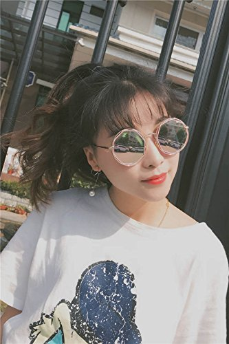 (Feed Cassette Glasses) Reflective Sunglasses Color Filter Korean Couple Lover Hollow Circular Metal Frame Sunglasses Sunglasses