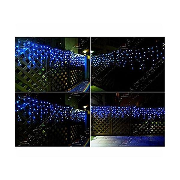 LED Tenda Luminosa, Catena Luminosa, Luci cascata, Luci per Tende, 216 LEDs 5M Natale Luci Stringa Bianco Caldo 8 Modalità Impermeabili IP44, per Natale finestra, porta, patio, giardino, feste, Blu 6 spesavip