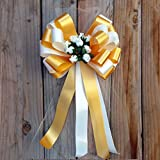 Ivory and Gold Wedding Pull Bows with Tulle Tails and Rosebuds - 8'' Wide, Set of 6