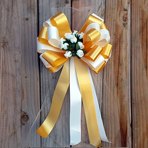 Ivory and Gold Wedding Pull Bows with Tulle Tails and Rosebuds - 8'' Wide, Set of 6 by GiftWrap Etc.