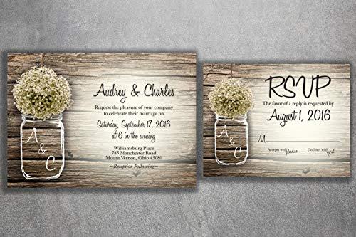 Country MASON JAR Baby's Breath Flowers Rustic Wedding Invitation Set Printed, Cheap Wedding Invitations, Unique, Custom Invitations, ()