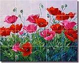 Floral Poppy Ceramic Tile Mural Backsplash 21.25'' x 17'' - Promenade of Color by Mikki Senkarik - Kitchen Shower Decor