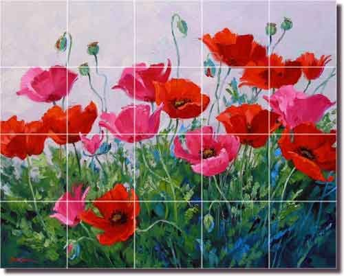 Floral Poppy Ceramic Tile Mural Backsplash 21.25u0027u0027 X 17u0027u0027   Promenade Of