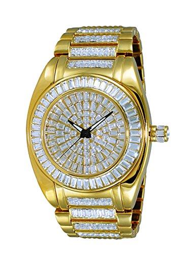 Adee Kaye Men's Quartz Brass Dress Watch, Color Gold-Toned (Model: AK6175-MG)