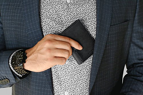 Wallets for Men Slim Mens leather RFID Blocking Minimalist Card Front Pocket Bifold Travel Thin (Charcoal Black 5.0) by SERMAN BRANDS (Image #1)