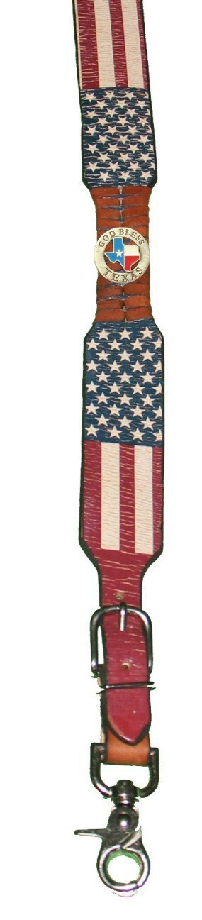 Custom God Bless Texas American Flag Leather Suspenders Galluses or Braces