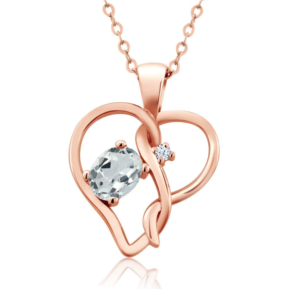 Gem Stone King 0.44 Ct Oval Sky Blue Aquamarine 18K Rose Gold Plated Silver Pendant