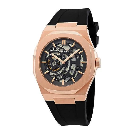 D1 Milano - Reloj Skeleton automática reloj movimiento Apparent - Cubierta Rosé 41.5 mm - pulsera silicona negro - hombre: Amazon.es: Relojes
