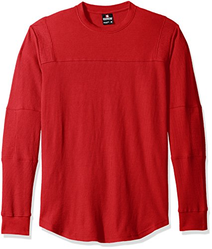 Red Scallop (Southpole Men's Long Sleeve Scallop Thermal With Moto Biker Details, Red, Medium)