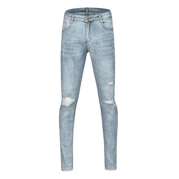 LianMengMVP Pantalones Vaqueros para Hombre,Vintage Casual ...