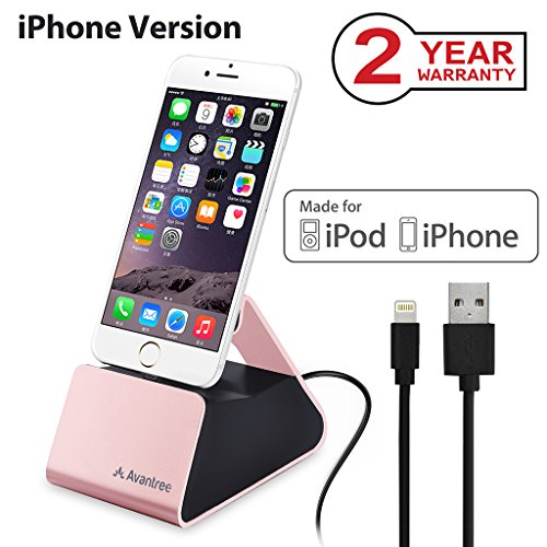 Iphone Docking Cradle (Avantree Desktop iPhone Charging Dock Station with Apple MFi Certified Lightning Sync Charge Cable, Aluminum Charger Stand Cradle for iPhone X, 8, 8 Plus, 7, 6s, 6, iPod Touch [2 Year Warranty])