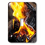 3dRose Alexis Photography - Texture Fire - Orange, yellow fire of a burning charcoal of an open air smithy - Light Switch Covers - single toggle switch (lsp_286617_1)