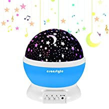 Esonstyle Musical Night Light, 360 Rotating Star Lamp Baby Musical Lamp with Rechargeable battery, 12 Songs to Relax for Sleep Kids Babies Birthday Children Christmas Gift (Blue)