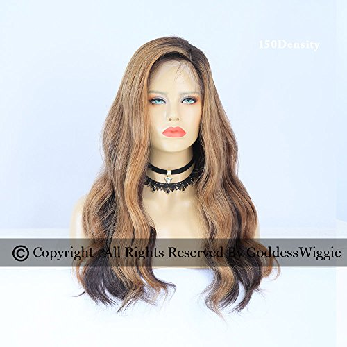 Highlight Brown Human Hair Lace Front Wigs Dark Root Glueless Body Wavy Wigs Side Part Hairstyle (20inch 180density) by Goddess