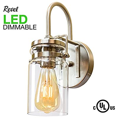 Wyer 1-Light Industrial Wall Sconce with Clear Glass Shade