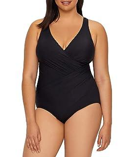 0adfa4d98a Miraclesuit Women's Swimwear Plus Size Solid Oceanus V-Neckline Tummy  Control Underwire Bra One Piece